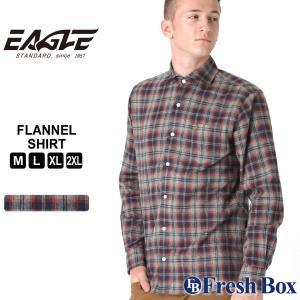 【送料無料】 ネルシャツ メンズ ブランド ワイドカラー カジュアルシャツ 長袖シャツ 大きいサイズ EAGLE STANDARD イーグル (eagle-90007 )|f-box
