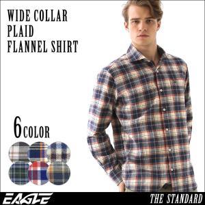 シャツ 長袖 厚手 メンズ ワイドカラー フランネル チェック柄 ネルシャツ 大きいサイズ 日本規格|ブランド EAGLE THE STANDARD イーグル|長袖シャツ|f-box