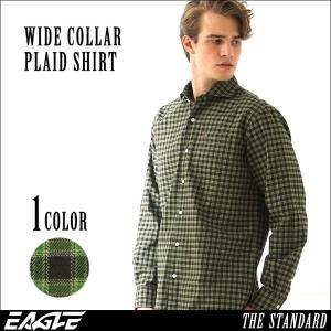 チェックシャツ メンズ ワイドカラー チェック柄 チェック シャツ 大きいサイズ ワイシャツ ワイドカラー EAGLE THE STANDARD|f-box