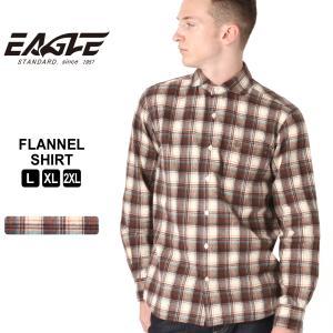 【送料無料】 ネルシャツ メンズ ブランド ワイドカラー カジュアルシャツ 長袖シャツ 大きいサイズ EAGLE STANDARD イーグル (eagle-90021 )|f-box