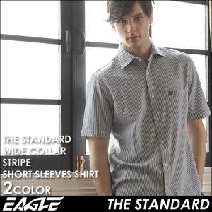 【送料無料】 シャツ 半袖 メンズ ワイドカラー チェック柄 大きいサイズ 日本規格|EAGLE STANDARD イーグル|半袖シャツ ワイシャツ Yシャツ カジュアル|f-box