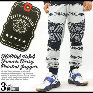 ジョガーパンツ スウェット スリム メンズ USAモデル ブランド フォーカスUSA FOCUS U.S.A スウェットパンツ プリント f-box