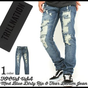 ダメージ デニム ジーンズ メンズ ダメージジーンズ 大きいサイズ ダメージデニム ストレート フォッシュ ジーンズ メンズ|f-box