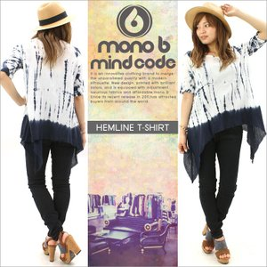 Tシャツ 半袖 ロング丈 レディース|ヘムライン MONO B モノビー|f-box