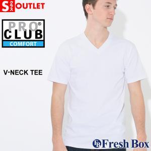 アウトレット 返品・交換・キャンセル不可|プロクラブ Tシャツ 半袖 Vネック コンフォート 無地 メンズ|大きいサイズ ブランド PRO CLUB|半袖Tシャツ S|f-box