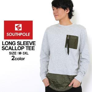 サウスポール ロンT ポケット ロング丈 メンズ|大きいサイズ USAモデル ブランド SOUTH POLE|長袖Tシャツ アメカジ ストリート XL XXL LL 2L 3L|f-box