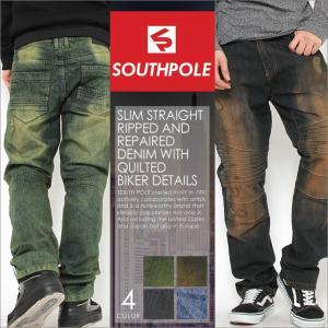 SOUTH POLE サウスポール ジーンズ メンズ ストレート バイカー デニム バイカーパンツ ダメージ ジーンズ ジーンズ メンズ 大きいサイズ メンズ|f-box