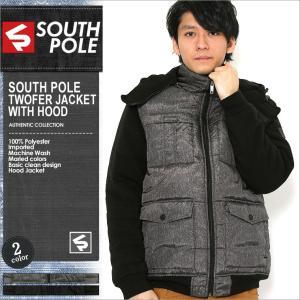 サウスポール 中綿ジャケット フード メンズ|大きいサイズ USAモデル ブランド SOUTH POLE|ナイロンジャケット 防寒 アウター ブルゾン XL XXL LL 2L 3L|f-box