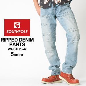 サウスポール デニムパンツ メンズ ダメージ加工|大きいサイズ USAモデル ブランド SOUTH POLE|ジーンズ アメカジ 36インチ 38インチ 40インチ 42インチ|f-box