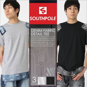 サウスポール Tシャツ 半袖 ロング丈 デニム ダメージ加工 メンズ|大きいサイズ USAモデル ブランド SOUTH POLE|半袖Tシャツ ストリート XL XXL LL|f-box