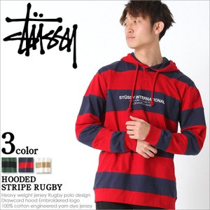 stussy ステューシー パーカー メンズ 大きいサイズ メンズ プルオーバー ボーダー ラガーシャツ 長袖 メンズ|f-box