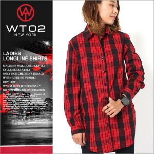 wt02 シャツ レディース 長袖 ロング丈 チェック柄 チェックシャツ 長袖シャツ 長袖カジュアルシャツ|f-box