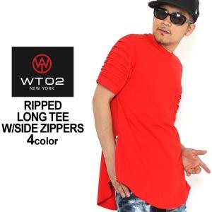 WT02 Tシャツ 半袖 ロング丈 メンズ 16191-1011|大きいサイズ USAモデル ブランド ダブルティー02|半袖Tシャツ ヘムラインTシャツ ストリート|f-box
