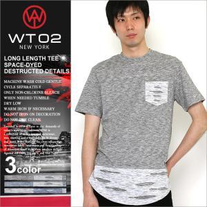 WT02 Tシャツ 半袖 ポケット ロング丈 メンズ 16191-1027|大きいサイズ USAモデル ブランド ダブルティー02|半袖Tシャツ ヘムライン ストリート|f-box