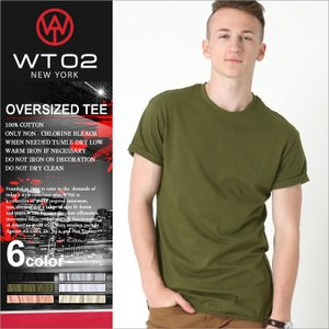 WT02 Tシャツ 半袖 無地 ロング丈 メンズ 17191-1015|大きいサイズ USAモデル ブランド ダブルティー02|半袖Tシャツ ストリート XL XXL LL 2L 3L|f-box