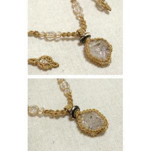 ハーキマーダイヤモンド 水晶原石 マクラメ編みペンダント ナチュラルアクセサリー f-click 03