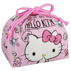メール便送料無料 オーエスケー ハローキティ 巾着弁当袋 (日本製)  KB-1 かわいいピンク弁当袋 f-fieldstore