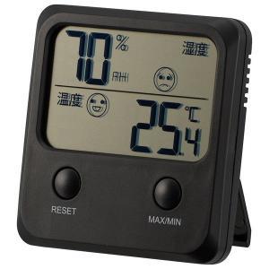 オーム電機  TEM-400-K ブラック デジタル温湿度計 3Wayで使用 スタンド・マグネット・壁掛け用フック穴 快適表示付き メモリー機能  品番08-0083  f-fieldstore