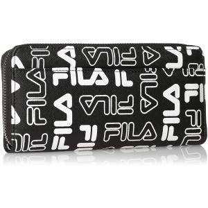 \送料無料/[フィラ] 長財布 総柄ロゴ ラウンドファスナー式 FIMS-0141 ブラック/ホワイト/ネイビー|f-folio