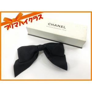 329a5563fb2f CHANEL シャネル バレッタ リボン ヘアアクセサリー 髪留め ブラック 中古 美品 シルク