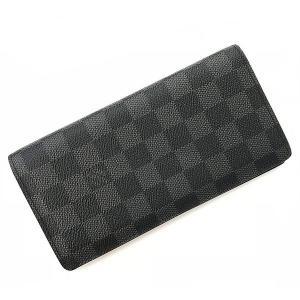 ルイ ヴィトン 二つ折り 長財布 ダミエ グラフィット ポルトフォイユ ブラザ N62665 中古 メンズ LOUIS VUITTON 財布 f-high-c