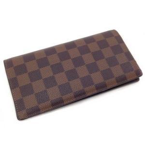 ルイ ヴィトン 2つ折り 長財布 ダミエ N60017 ポルトフォイユ ブラザ 中古 美品 LOUIS VUITTON 薄い 内ポケット向き f-high-c