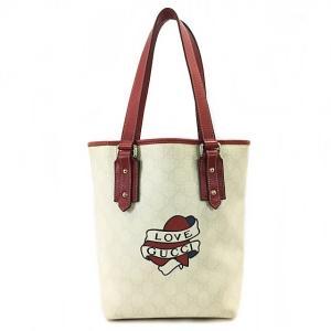 グッチ トートバッグ ハンドバッグ ホワイト レッド 中古 PVC レザー GUCCI ラブグッチ タトゥーハート レディース バッグ GG  |f-high-c
