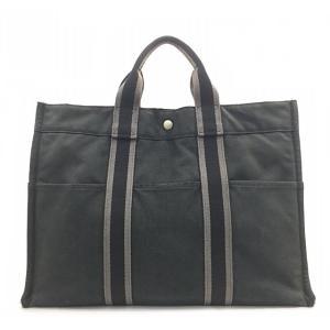 エルメス フールトゥ MM トートバッグ ブラック グレー 中古 キャンバス HERMES ハンドバッグ ユニセックス 通学 通勤 鞄 |f-high-c