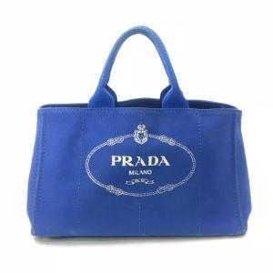 プラダ トートバッグ カナパ キャンバス ブルー A4 ハンド ロゴ 中古 PRADA 定番 大容量 f-high-c