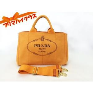 PRADA プラダ カナパ トートバッグ ショルダー ストラップ 2WAYバッグ オレンジ キャンバス 中古 美品 ショルダーバッグ ゴールド金具 f-high-c