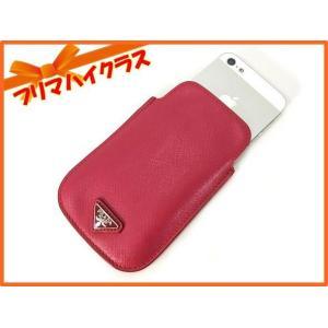 PRADA プラダ スマートフォンケース サフィアーノ ピンク iPhoneケース 携帯ケース 美品 中古 スマホ ケース カバー|f-high-c