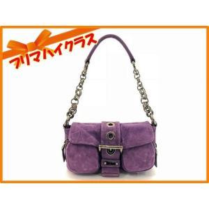 PRADA プラダ スエード パーティバッグ ハンドバッグ ショルダーバッグ パープル 紫 チェーン マグネットフラップ スウェード 美品 中古 f-high-c