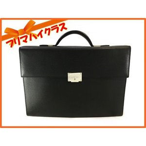 LOEWE ロエベ ビジネスバッグ メンズ ハンドバッグ 書類バッグ レザー ブラック シルバー金具 鍵 美品 中古|f-high-c