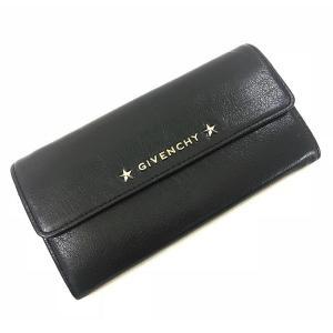ジバンシー 財布 二つ折り 長財布 ブラック レザー ロゴ 星 中古 美品 GIVENCHY ブラック 黒|f-high-c