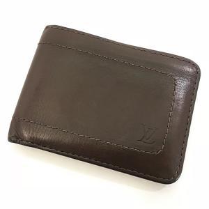 ルイ ヴィトン 二つ折り 財布 メンズ レザー M92074 茶 刺繍 ロゴ 中古 ヴィンテージ LOUIS VUITTON ブラウン LV f-high-c
