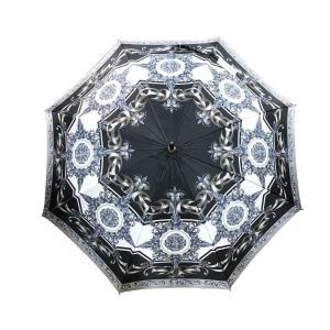 ヴェルサーチ 傘 雨具 総柄 ポリエステル ロゴ 手開き傘 シルバー 未使用 美品 タグ付 GIANNI VERSACE|f-high-c