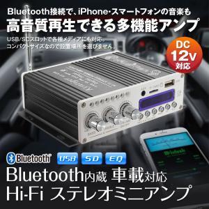 オーディオアンプ 高音質 高出力 USB SDカード Bluetooth対応 パワーアンプ Bluetooth Hi-Fi ステレオオーディオアンプ 12v 車載|f-innovation