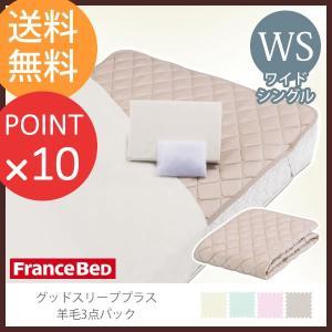 フランスベッド  グッドスリーププラス 羊毛3点パック ワイドシングルサイズ  敷きパッド マットレスカバー 洗濯ネット付|f-news