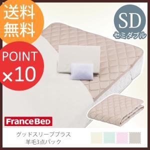 フランスベッド  グッドスリーププラス 羊毛3点パック セミダブルサイズ  敷きパッド マットレスカバー 洗濯ネット付|f-news