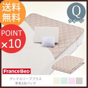 フランスベッド  グッドスリーププラス 羊毛3点パック クイーンサイズ  敷きパッド マットレスカバー 洗濯ネット付|f-news