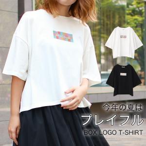 Tシャツ レディース ボックスロゴ 刺繍 ビックTシャツ 春 夏 半袖 ゆったり カットソー トップス 送料無料|f-odekake