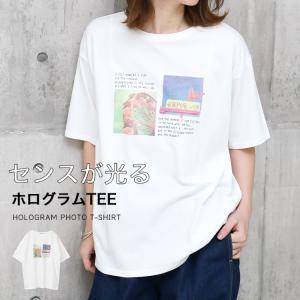 Tシャツ レディース ホログラム フォト ロゴ プリント ゆったり オーバーサイズ 半袖 春 夏 カットソー トップス 送料無料|f-odekake