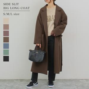 コート レディース シングル衿サイドスリットビッグロングコート ベルト付き ガウンコート 秋冬 大きいサイズ ゆったり 送料無料|f-odekake