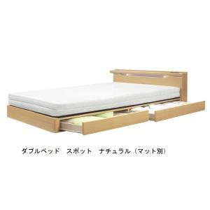 ダブルベッド スポット キャビネットタイプ 床板布張り 2色対応|f-room