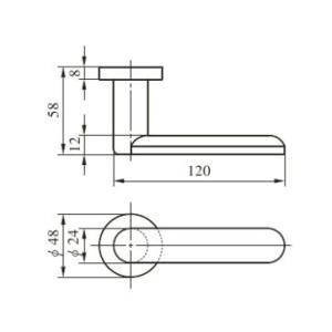 MIWA LA用 55番レバーハンドル ST色(ステンレスヘヤーライン) 扉厚33〜41mm対応|f-secure|02