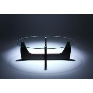 送料無料ローテーブル テーブル ガラステーブル ガラス製 ガラス リビングテーブル 強化ガラス 木脚 オーバル 2WAYローテーブル -クルード-|f-syo-ei