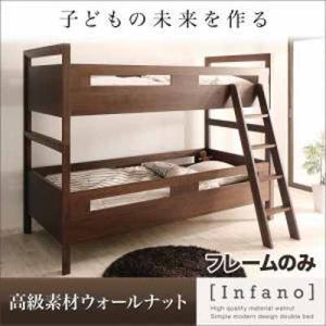 素材からこだわった2段ベッド!!デザインもおしゃれで、子どもが成長してもずっと使い続けられます 高級素材ウォールナット・シンプルモダンデザイン2段ベッド|f-syo-ei