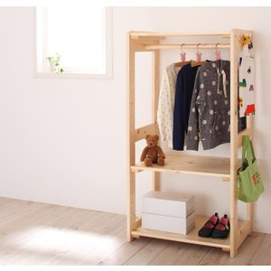 ハンガーラック 子供 キッズ用 おしゃれ 北欧 木製 収納 2段 家具通販|f-syo-ei