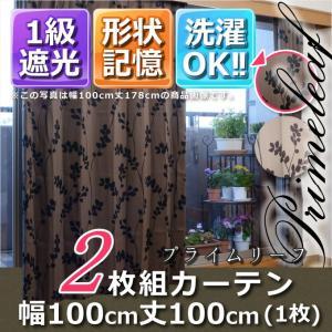 1級遮光・形状記憶カーテン2枚組 プライムリーフ 幅100丈100 ブラウン|f-syo-ei