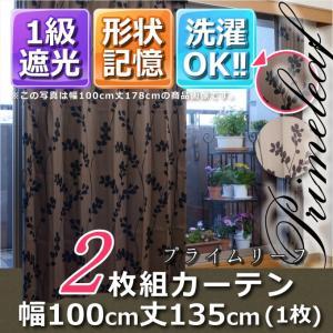 1級遮光・形状記憶カーテン2枚組 プライムリーフ 幅100丈135 ブラウン|f-syo-ei